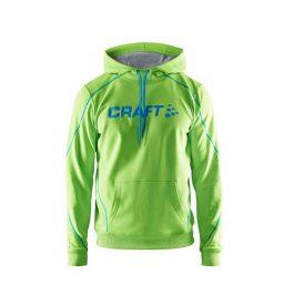 Felpa CRAFT LOGO HOODIE (Verde con ricamo blu)