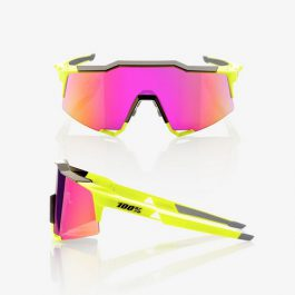 Occhiali 100% SPEEDCRAFT Polished Black/Fluorescent Yellow Purple Multilayer Mirror