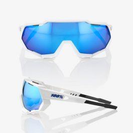 Occhiali 100% Speedtrap Matte White HiPER Blue Multilayer Mirror