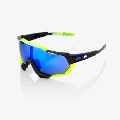Occhiali 100% Speedtrap Polished Black/Matte Neon Yellow Electric Blue Mirror