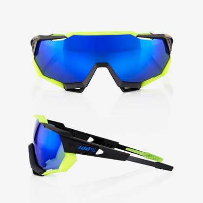 Occhiali 100% Speedtrap Polished Black/Matte Neon Yellow Electric Blue Mirror Vista 1