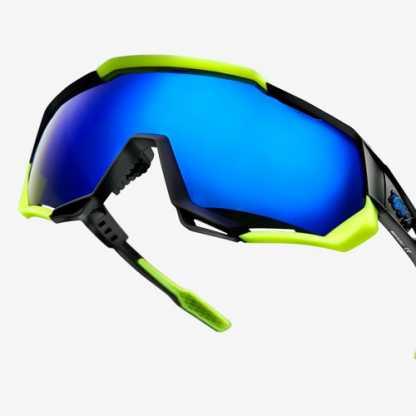 Occhiali 100% Speedtrap Polished Black/Matte Neon Yellow Electric Blue Mirror Vista 2